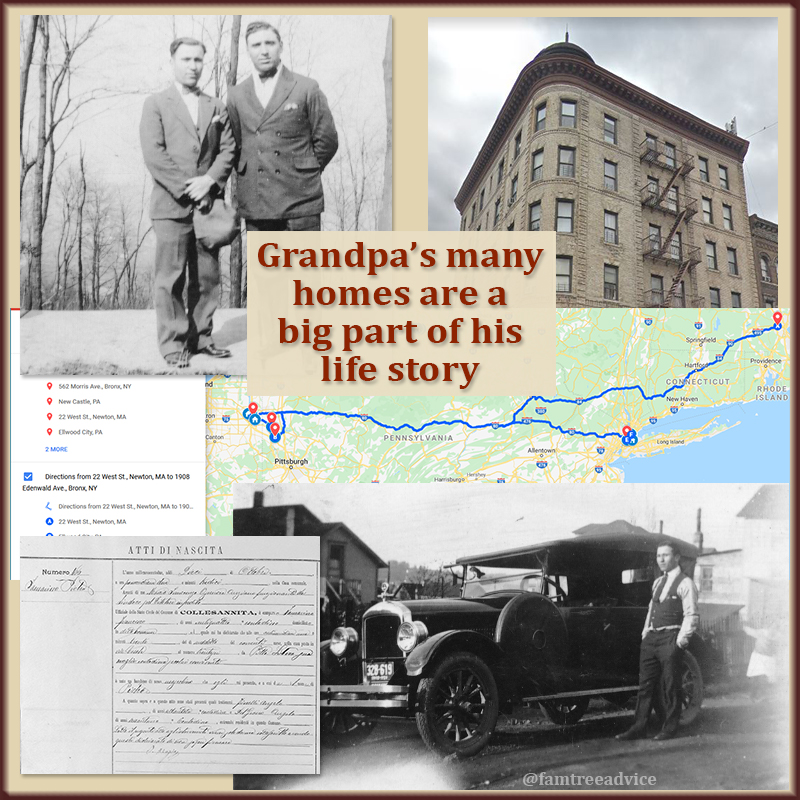 I used a special mapping feature to show Grandpa's journey, but I need to write his story.