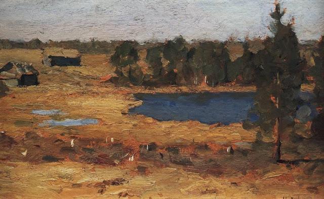Исаак Ильич Левитан - Озеро. Сараи у лесной опушки. 1898-1899