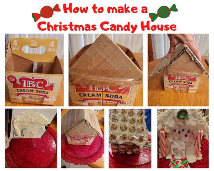 this is a collage of photos on how to build a Christmas Candy house