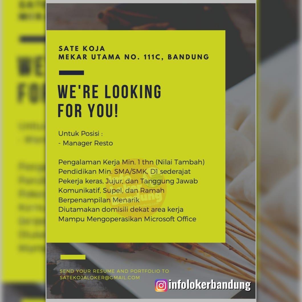 Lowongan Kerja Manager Resto Sate Koja Bandung Agustus 2019