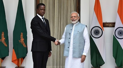 PM Modi Zambian President Edgar Chagwa at Delhi Hyderabad house