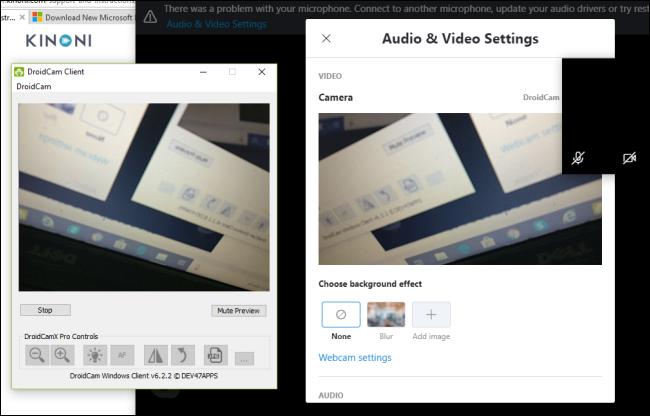 يعرض عميل DroidCam معاينة لكاميرا هاتف Android.