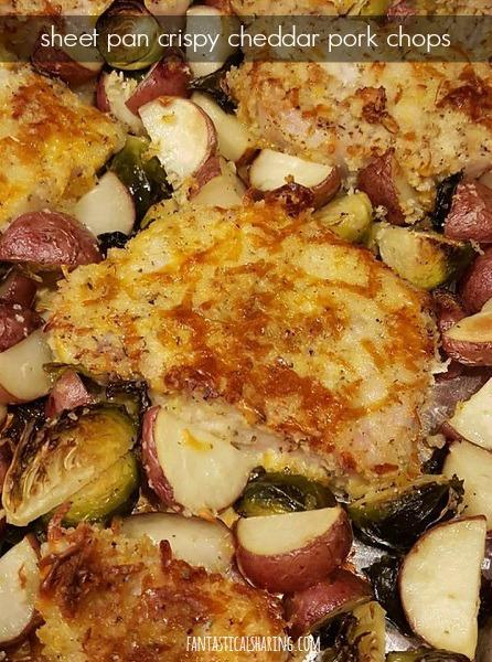 Sheet Pan Crispy Cheddar Pork Chops #recipe #pork #onepanrecipe #maindish
