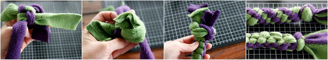 Step-by-step instructions for a boondoggle end knot on fleece dog tug toy