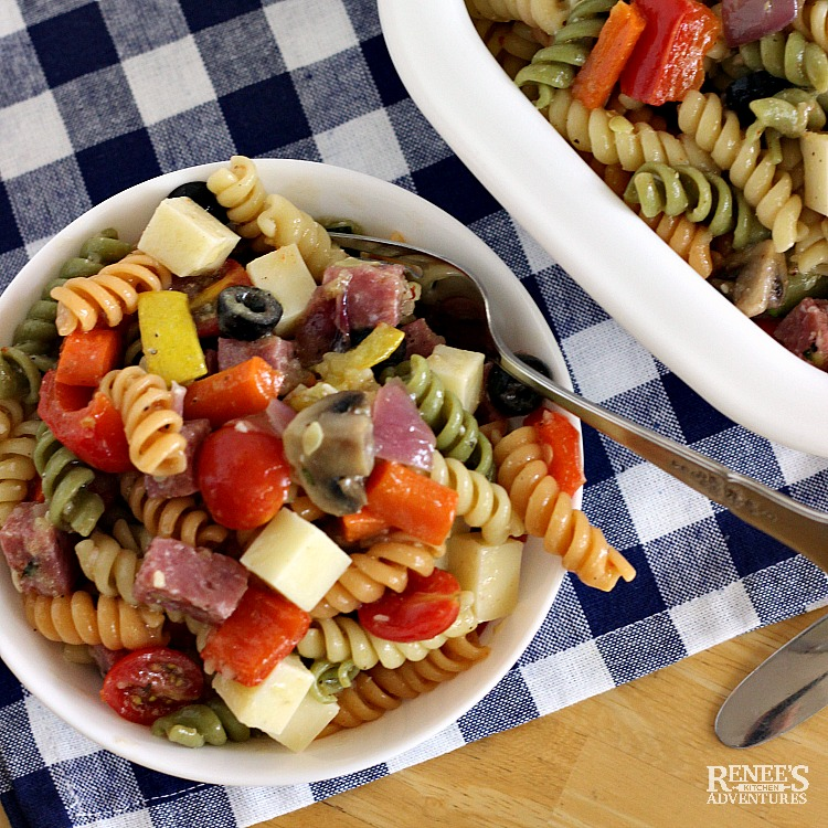 Roasted Vegetable Pasta Salad by Renee's Kitchen Adventures in white bowl