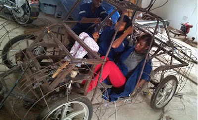 "Undergraduates from Uniben work relentlessly to design, build and test an  energy-efficient car called ""Tuketuke"" that will compete at Shell Ecomarathon Take from Eco-tuketuke facebook page."