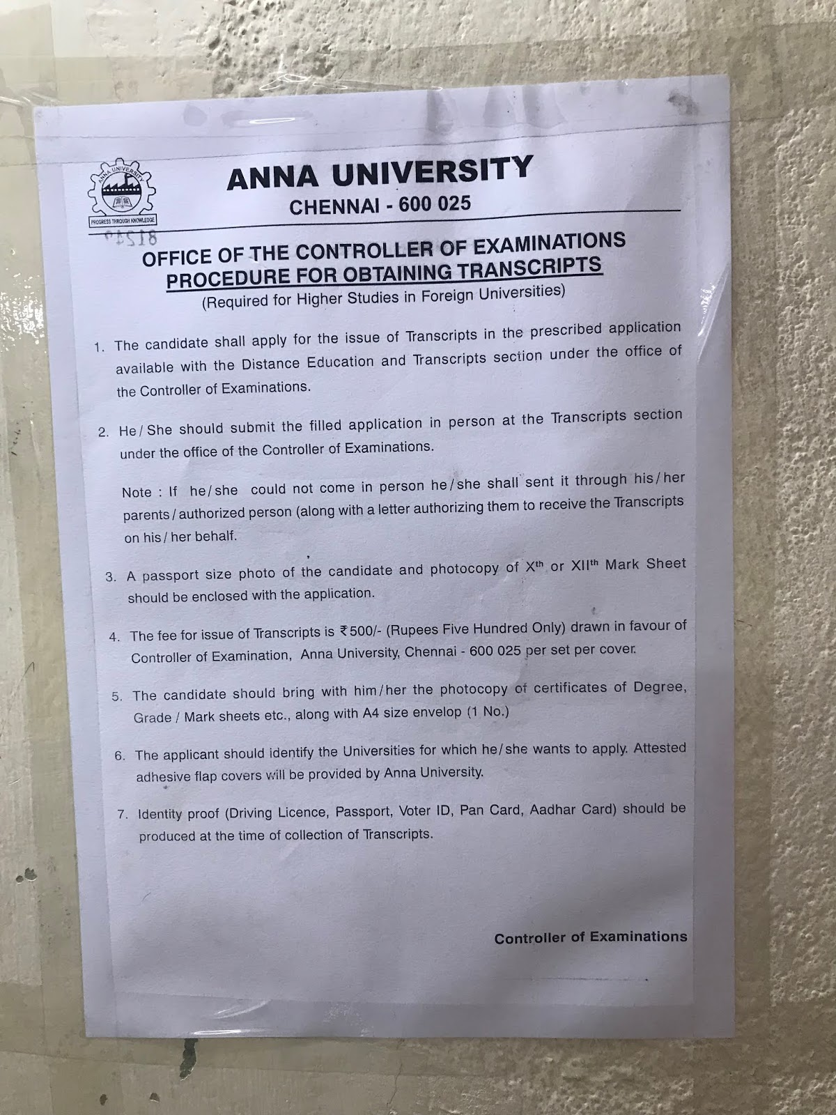 WES Transcript application procedure for Anna University
