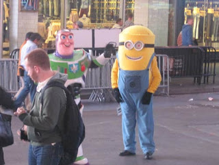 Aren't you a little tall for a minion?  Sorry, I got mustard on my Woody costume.