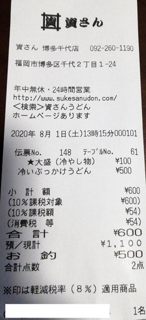 資さんうどん 博多千代店 2020/8/1 飲食のレシート