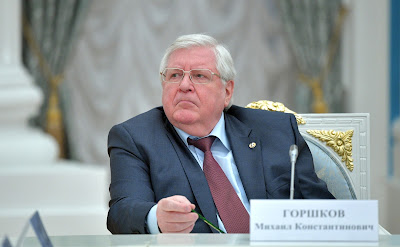 Director of the Russian Academy of Sciences Institute of Sociology Mikhail Gorshkov at a meeting with members of the Russian Academy of Sciences.