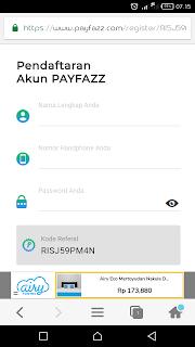 Halaman Awal pendaftaran Payfazz