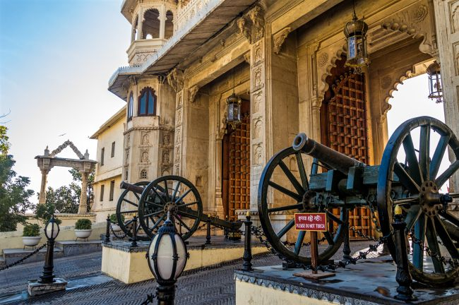 Majestic canons at the entrance of City Palace