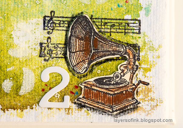 Layers of ink - Sing Art Journal Page by Anna-Karin Evaldsson. Old gramophone.