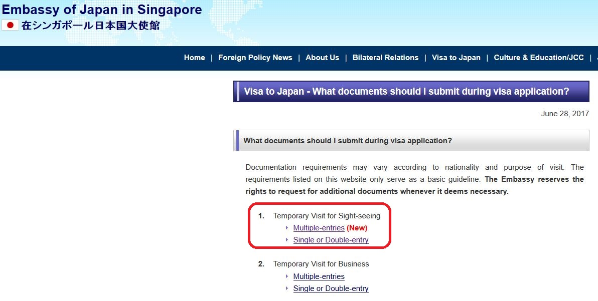 Singapore visa official website