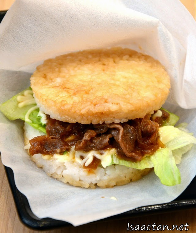 #1 Yakiniku Rice Burger - RM7 or RM15 in a set with pumpkin tempura and miso soup