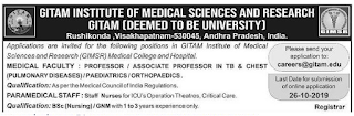 GITAM Staff Nurse, Associate Professor Jobs in GITAM Institute of Medical Sciences and Research 2019 Recruitment, Visakhapatnam