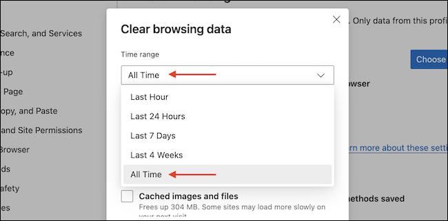 حدد الإطار الزمني الذي تريد مسح بيانات التصفح الخاصة به.