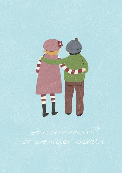 """Mädchen und Junge von hinten, Text """"Zusammen ist weniger allein"""""""
