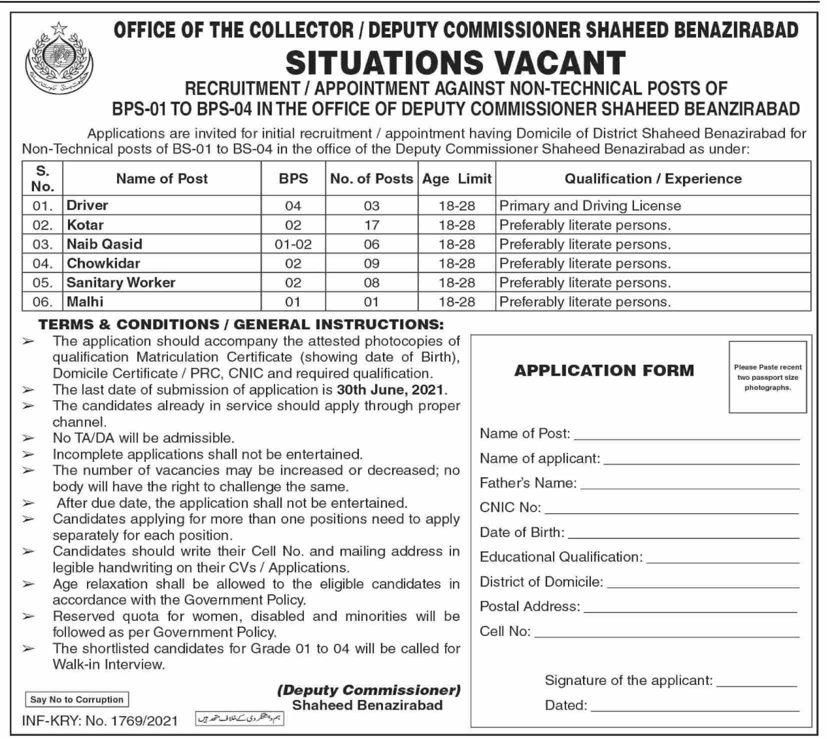 Office of The Deputy Commissioner Shaheed Benazir Abad Jobs 2021 in Pakistan