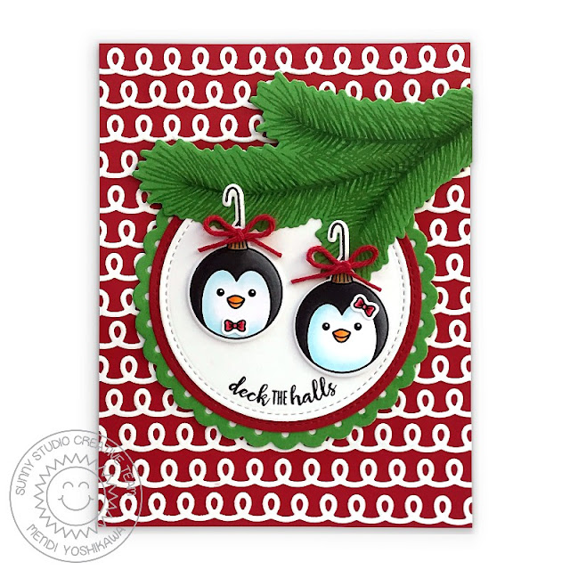 Sunny Studio Penguin Ornament Christmas Card with Red & White Loopy Background (using Deck The Halls & Holiday Style Stamps, Icing Border, Scalloped Circle Mat 2 and Stitched Circle Dies)