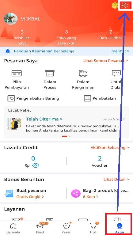 Icon Pengaturan Akun Aplikasi Lazada Customer di Smartphone.