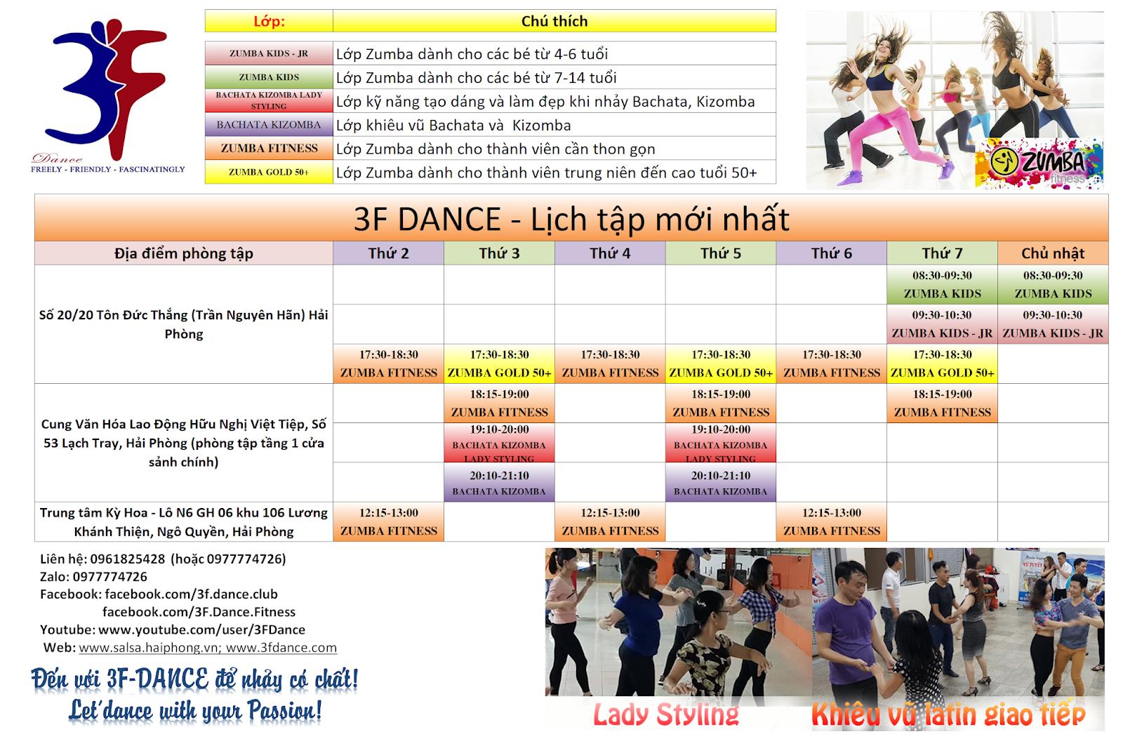 3F DANCE Hai Phong lich tap Zumba - Salsa - Bachata- Kizomba - Zouk moi nhat