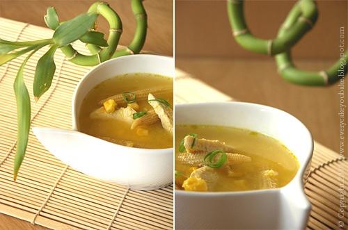 chińska zupa ze słodkiej kukurydzy i kurczaka