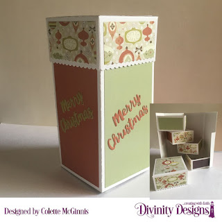 Custom Dies: Treat Tower, Holiday Words, Paper Collection: Retro Christmas