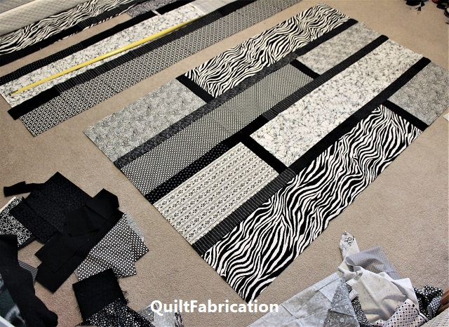 A black and white Quarter Cut quilt in progress