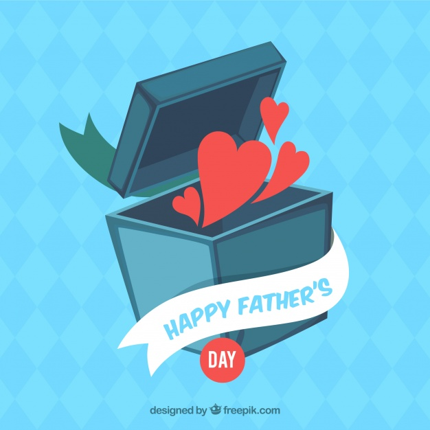 Fathers day background with hearts leaving box Free Vector