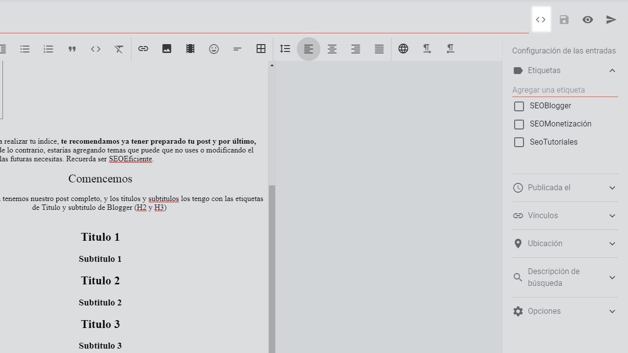 Como usar la Vista HTML en Blogger