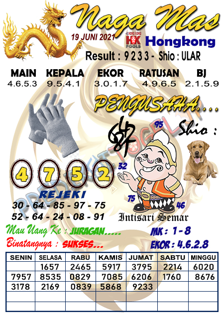 Syair Nagamas HK Sabtu 19 Juni 2021