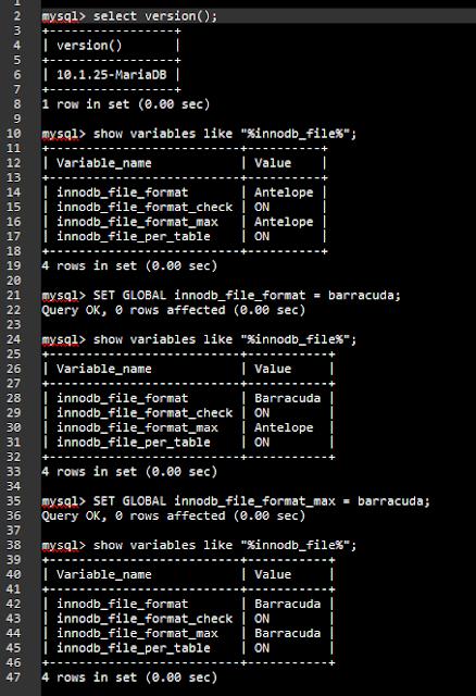 Setting Barracuda Database Moodle / INNODB File Format Barracuda / MariaDB