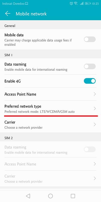 setelah diaktifkan akan muncul lte yang berarti mode 4g sudah aktif dan siap digunakan