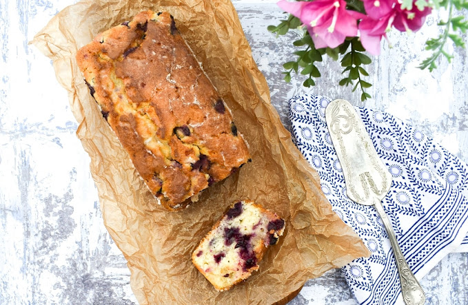 vegan loaf cake with blueberries and lemon