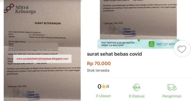 Viral Pelaku Jual Surat Sehat Bebas Covid-19 dengan Harga Rp 70.000 di Toko Online