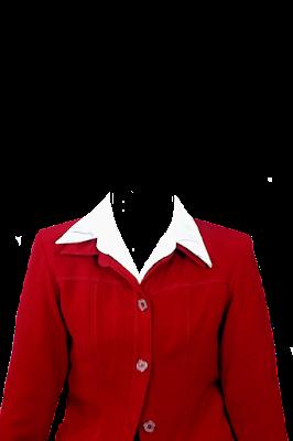 Contoh template jas wanita merah png