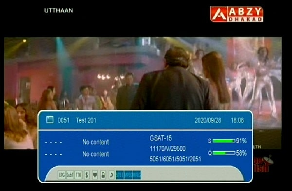 ABZY Dhakad Movie channel now avaialable on new frequency and new channel number on free dish tv.