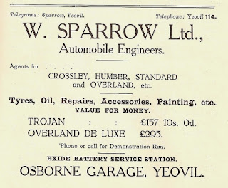 W Sparrow and Sons Ltd advert from 1924