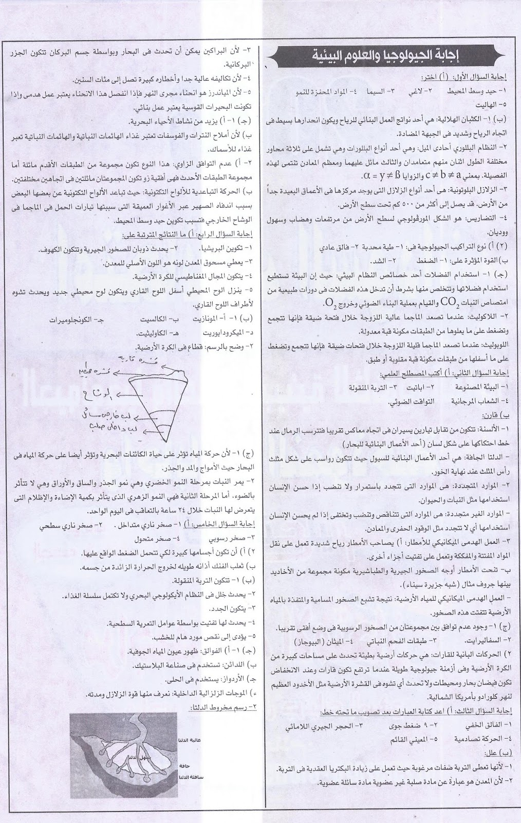 """امتحان 2016 فى الجيولوجيا والعلوم البيئية للثانوية العامة بـ""""السودان"""" + نموذج الاجابة 6"""