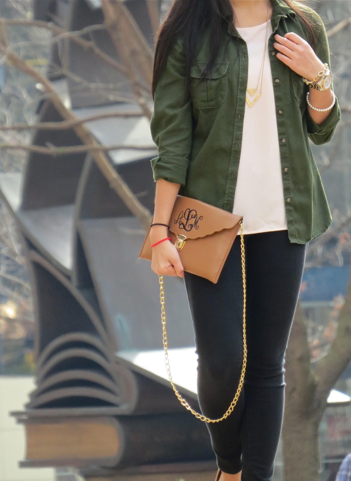 how to style an army green button down