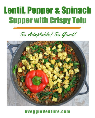Lentil, Pepper & Spinach Supper with Crispy Tofu & Indian Spices, another healthy one-pot supper ♥ AVeggieVenture.com, lentils with bright bell pepper and dark spinach, topped with tofu cooked with Indian spices. Weight Watchers Friendly. Perfect for MeatlessMonday. Vegan, filling and satisfying. Adaptable too!
