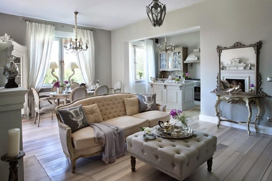Szarość we francuskim stylu, wystrój wnętrz, wnętrza, urządzanie domu, dekoracje wnętrz, aranżacja wnętrz, inspiracje wnętrz,interior design , dom i wnętrze, aranżacja mieszkania, modne wnętrza, styl francuski, styl rustykalny, glamour, szarości, kolor szary, szare wnętrza, eleganckie wnętrza, salon, jadalnia