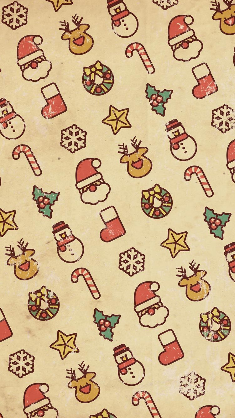Merry Christmas Pattern HD Wallpaper for iPhone