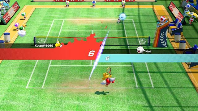 Mario Tennis Aces Paratroopa Boo Marina Stadium grass tiebreaker