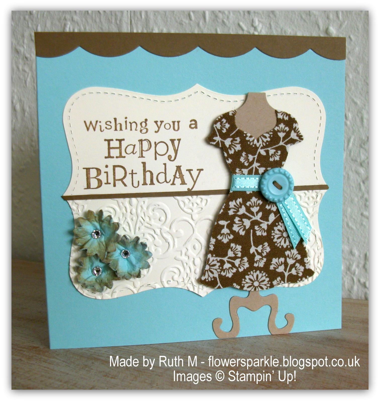 Flower Sparkle Fabric Dress Happy Birthday Card