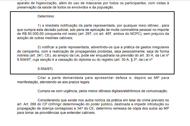 Justiça eleitoral decide que caso grupo de Genivaldo Tembório continue descumprindo determinações na Prata, o candidato poderá ter o registro de candidatura cassado