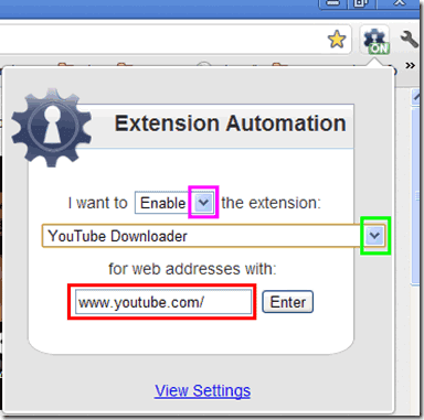 Extension Automation estensione Chrome