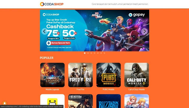 Cara Top Up CP COD Mobile Melalui Codashop