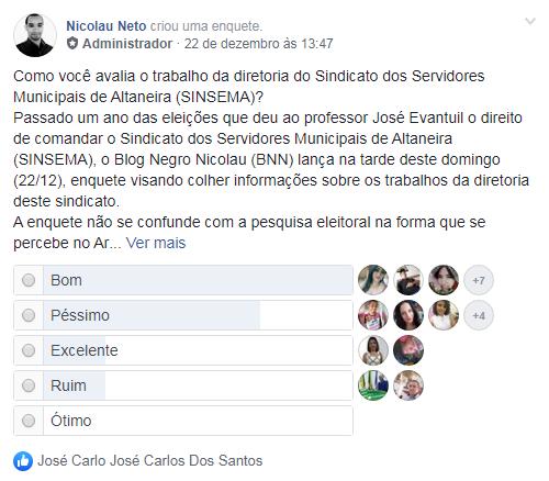 Trabalho da diretoria do SINSEMA é aprovada por 57% dos/as internautas altaneirenses